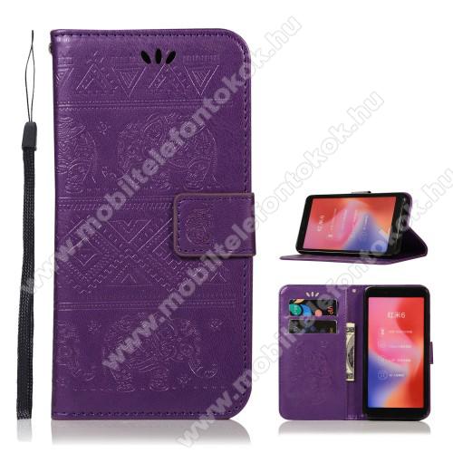 Notesz / mappa tok - LILA - ELEFÁNT MINTÁS - csuklópánt, oldalra nyíló, rejtett mágneses záródás, belső zseb, asztali tartó funkció, szilikon belső - Xiaomi Mi 6