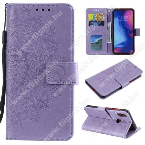 Notesz / mappa tok - LILA - MANDALA MINTÁS - oldalra nyíló, rejtett mágneses záródás, belső zseb, asztali tartó funkció, szilikon belső - Xiaomi Redmi Note 7 / Xiaomi Redmi Note 7 Pro / Xiaomi Redmi Note 7S