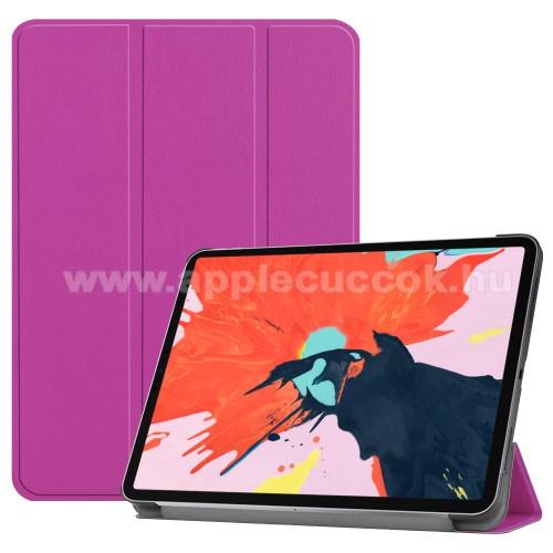 Notesz / mappa tok - LILA - oldalra nyíló flip cover, TRIFOLD asztali tartó funkciós, mágneses záródás - APPLE iPad Pro 12.9 (2018)
