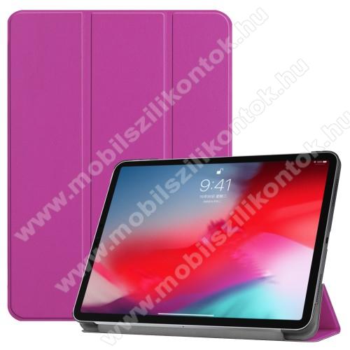 Notesz / mappa tok - LILA - oldalra nyíló flip cover, TRIFOLD asztali tartó funkciós, mágneses záródás - APPLE iPad Pro 11 (2018)