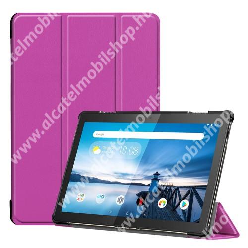 Notesz / mappa tok - LILA - oldalra nyíló flip cover, TRIFOLD asztali tartó funkciós, mágneses záródás, erősített sarkok, műanyag belső - Lenovo Tab M10 (TB-X605F / TB-X505F)