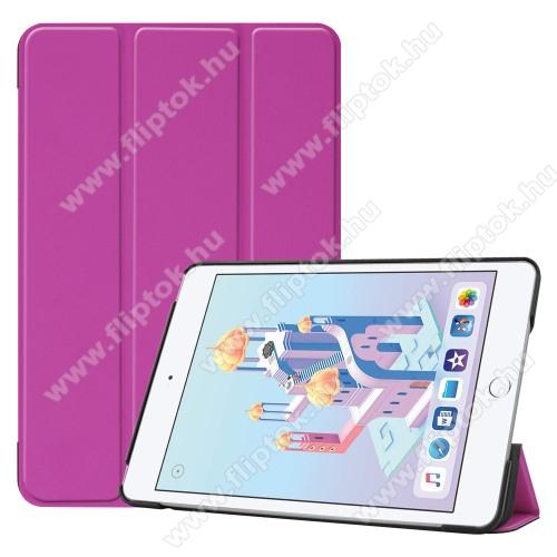 Notesz / mappa tok - LILA - oldalra nyíló flip cover, TRIFOLD asztali tartó funkciós, mágneses záródás, műanyag belső - Apple iPad mini (2019)