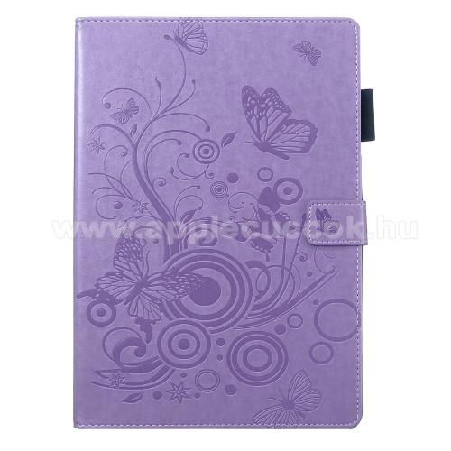 Notesz / mappa tok - LILA - oldalra nyíló flip cover, gravírozott lepke és virág mintás, asztali tartó funkció, mágneses záródás, szilikon belső, ceruza tartó - APPLE iPad 10.2 (7th Generation) (2019)