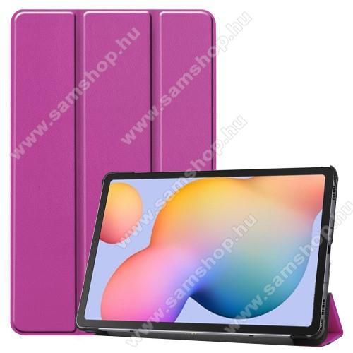 Notesz / mappa tok - LILA - oldalra nyíló flip cover, TRIFOLD asztali tartó funkciós, erősített sarkok, mágneses záródás, műanyag belső - SAMSUNG SM-P610 Galaxy Tab S6 Lite (Wi-Fi) / SAMSUNG SM-P615 Galaxy Tab S6 Lite (LTE)