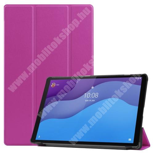 Notesz / mappa tok - LILA - oldalra nyíló flip cover, TRIFOLD asztali tartó funkciós, mágneses záródás, műanyag belső - Lenovo Tab M10 HD Gen 2 (TB-X306F)