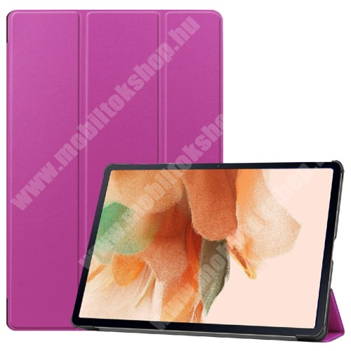 Notesz / mappa tok - LILA - oldalra nyíló flip cover, TRIFOLD asztali tartó funkciós, erősített sarkok, mágneses záródás, ceruzatartó, műanyag belső - SAMSUNG Galaxy Tab S7 FE (SM-T730) / Galaxy Tab S7 FE 5G (SM-T736)