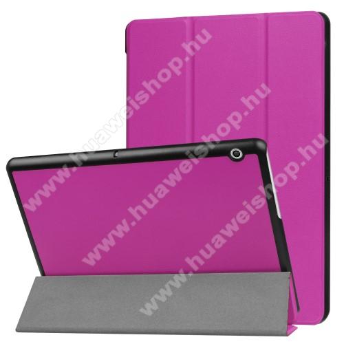 Notesz / mappa tok - LILA - oldalra nyíló flip cover, TRIFOLD asztali tartó funkciós, mágneses záródás - HUAWEI MediaPad T3 10