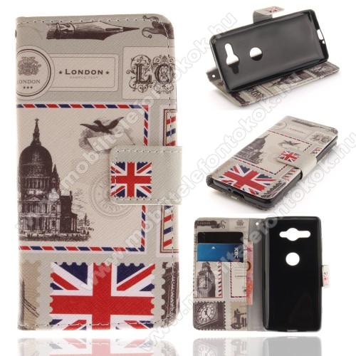 Notesz / mappa tok - LONDON MINTÁS - oldalra nyíló, rejtett mágneses záródás, belső zseb, asztali tartó funkció, szilikon belső - SONY Xperia XZ2 Compact (2018)