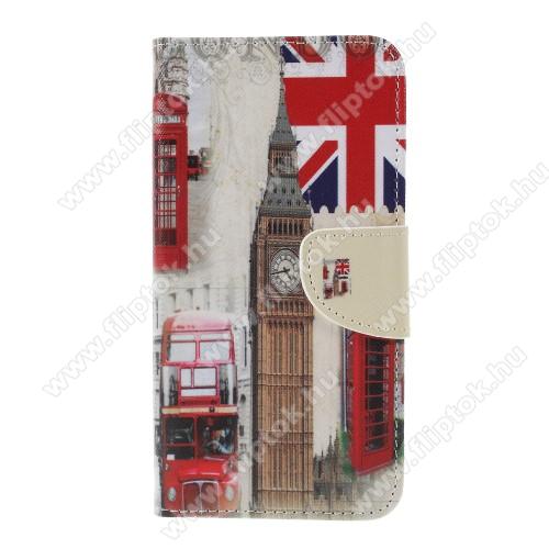 Notesz / mappa tok - LONDON MINTÁS - oldalra nyíló, rejtett mágneses záródás, belső zseb, asztali tartó funkció, szilikon belső - Sony Xperia XZ3