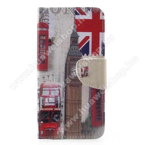 Notesz / mappa tok - LONDON MINTÁS - oldalra nyíló, rejtett mágneses záródás, belső zseb, asztali tartó funkció, szilikon belső - HUAWEI Mate 20
