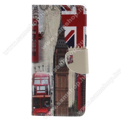 Notesz / mappa tok - LONDON MINTÁS - oldalra nyíló, rejtett mágneses záródás, belső zseb, asztali tartó funkció, szilikon belső - SAMSUNG SM-J415F Galaxy J4+