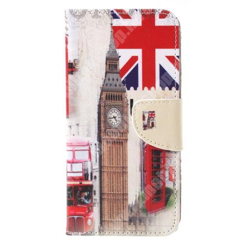 Notesz / mappa tok - LONDON MINTÁS - oldalra nyíló, rejtett mágneses záródás, belső zseb, asztali tartó funkció, szilikon belső - SONY Xperia XA3
