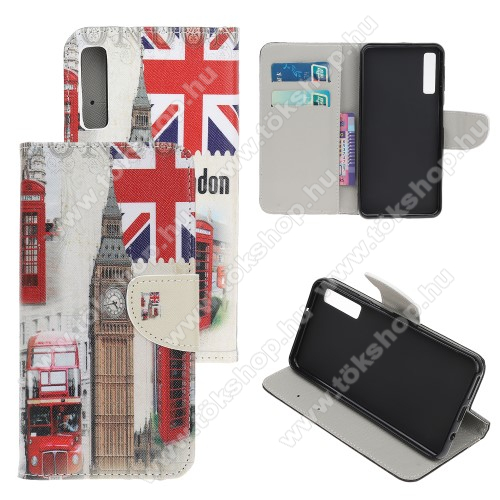 Notesz / mappa tok - LONDON MINTÁS - oldalra nyíló, rejtett mágneses záródás, belső zseb, asztali tartó funkció, szilikon belső - SAMSUNG Galaxy A30s / Galaxy A50 / Galaxy A50s