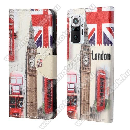 Notesz / mappa tok - LONDON MINTÁS - oldalra nyíló, rejtett mágneses záródás, bankkártyatartó zseb, asztali tartó funkció, szilikon belső - Xiaomi Redmi Note 10 Pro / Redmi Note 10 Pro Max