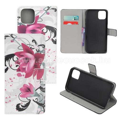 Notesz / mappa tok - LÓTUSZVIRÁG MINTÁS - oldalra nyíló, rejtett mágneses záródás, belső zseb, asztali tartó funkció, szilikon belső - APPLE iPhone 11