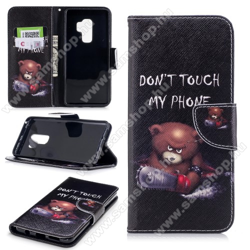 Notesz / mappa tok - MACI MINTÁS - oldalra nyíló, rejtett mágneses záródás, belső zseb, asztali tartó funkció, szilikon belső - SAMSUNG SM-G965 Galaxy S9+