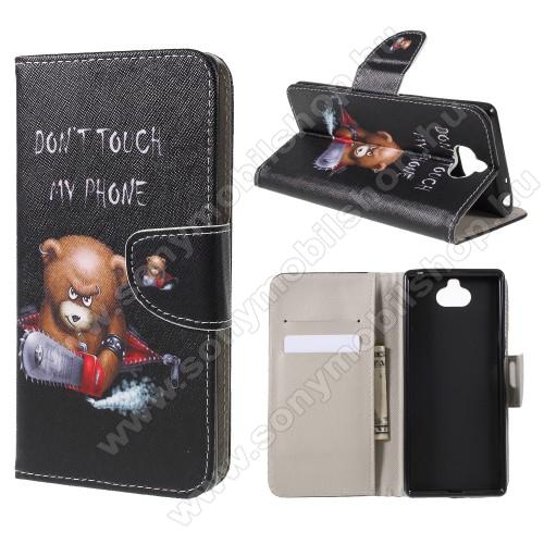 Notesz / mappa tok - MACI MINTÁS - oldalra nyíló, rejtett mágneses záródás, belső zseb, asztali tartó funkció, szilikon belső - SONY Xperia XA3