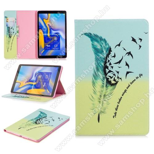 Notesz / mappa tok - MADÁRTOLL MINTÁS - oldalra nyíló, belső zseb, asztali tartó funkció, szilikon belső - SAMSUNG SM-T590 Galaxy Tab A 10.5 Wi-Fi / SAMSUNG SM-T595 Galaxy Tab A 10.5 LTE