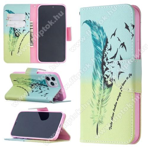 Notesz / mappa tok - MADÁRTOLL MINTÁS - oldalra nyíló, rejtett mágneses záródás, belső zseb, asztali tartó funkció, szilikon belső - APPLE iPhone 12 / APPLE iPhone 12 Pro
