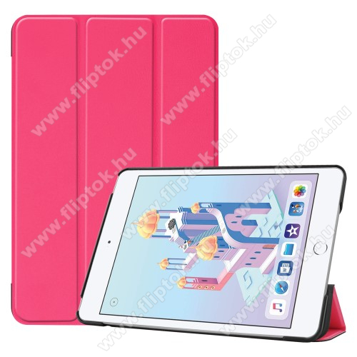 Notesz / mappa tok - MAGENTA - oldalra nyíló flip cover, TRIFOLD asztali tartó funkciós, mágneses záródás, műanyag belső - Apple iPad mini (2019)