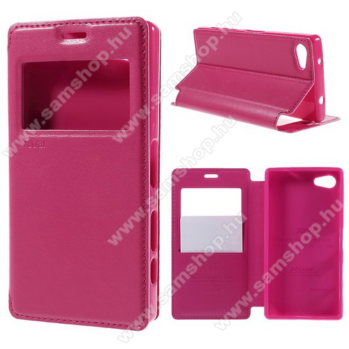 Notesz / mappa tok - MAGENTA - oldalra nyíló ablakos flip cover, hívószámkijelzés, bankkártya tartó, szilikon belső, mágneses záródás - SONY Xperia Z5 Compact