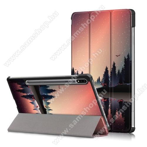 SAMSUNG Galaxy Tab S7 (SM-T870/T875/T876B)Notesz / mappa tok - NAPLEMENTE / ERDŐ MINTÁS - oldalra nyíló flip cover, TRIFOLD asztali tartó funkció, műanyag belső, ERŐSÍTETT SARKOKKAL! - SAMSUNG Galaxy Tab S7 (SM-T870/T875/T876B)