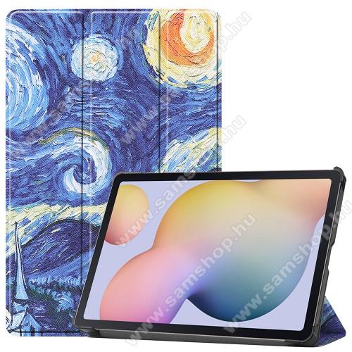 SAMSUNG Galaxy Tab S7 (SM-T870/T875/T876B)Notesz / mappa tok - OLAJFESTMÉNY MINTÁS - oldalra nyíló flip cover, TRIFOLD asztali tartó funkció, műanyag belső, ERŐSÍTETT SARKOKKAL! - SAMSUNG Galaxy Tab S7 (SM-T870/T875/T876B)