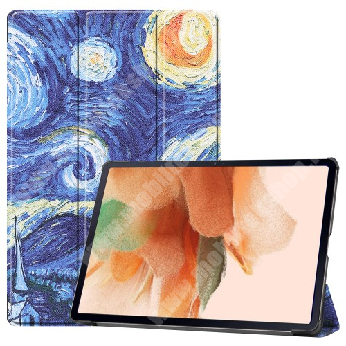 Notesz / mappa tok - OLAJFESTMÉNY MINTÁS - oldalra nyíló flip cover, TRIFOLD asztali tartó funkció, mágneses záródás, ceruzatartó, erősített sarkok, műanyag belső - SAMSUNG Galaxy Tab S7 FE (SM-T730) / Galaxy Tab S7 FE 5G (SM-T736)