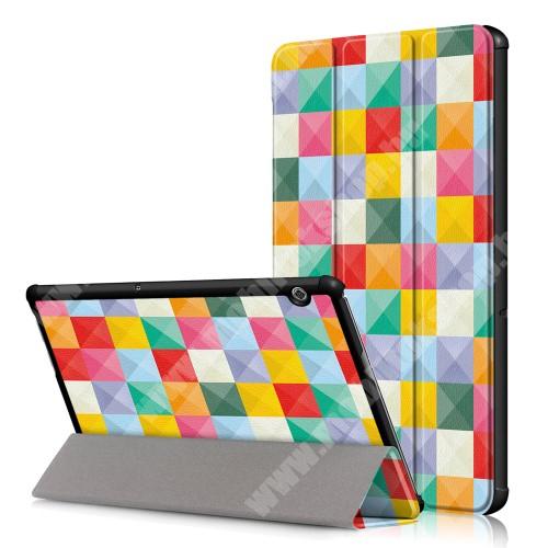 Notesz / mappa tok - oldalra nyíló flip cover, TRIFOLD asztali tartó funkció, mágneses záródás - SZÍNES NÉGYZET MINTÁS - HUAWEI MediaPad T5 10