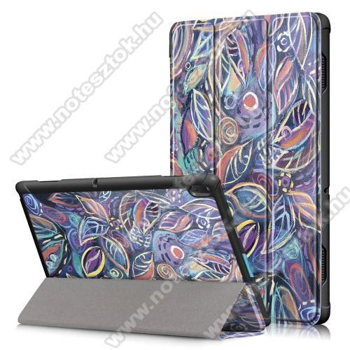 Notesz / mappa tok - oldalra nyíló flip cover, TRIFOLD asztali tartó funkció, mágneses záródás - SZÍNES LEVÉL MINTÁS - Lenovo Tab E10 (TB-X104F)