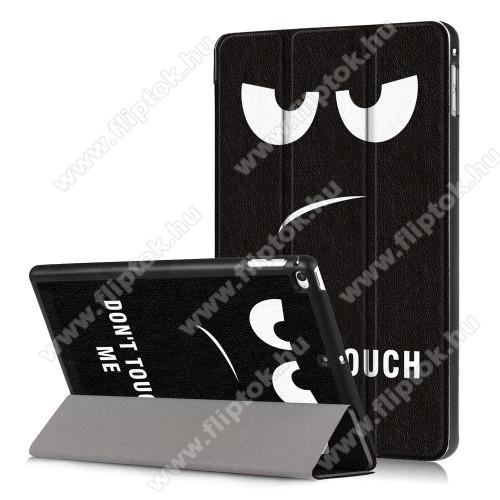 Notesz / mappa tok - oldalra nyíló flip cover, TRIFOLD asztali tartó funkció, mágneses záródás, erősített sarkok, műanyag belső - Do Not Touch Me MINTÁS - Apple iPad mini (2019)