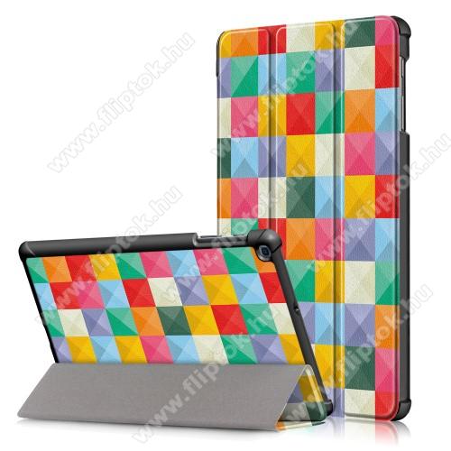 Notesz / mappa tok - oldalra nyíló flip cover, TRIFOLD asztali tartó funkció, mágneses záródás, erősített sarkok, műanyag belső - SZÍNES NÉGYZET MINTÁS - SAMSUNG Galaxy Tab A 10.1 Wi-Fi (2019) (SM-T510) / SAMSUNG Galaxy Tab A 10.1 LTE (2019) (SM-T515)