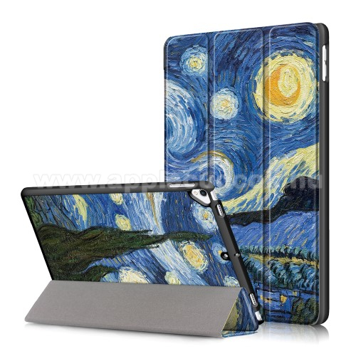 Notesz / mappa tok - oldalra nyíló flip cover, TRIFOLD asztali tartó funkció, műanyag belső - OLAJFESTMÉNY MINTÁS - APPLE iPad 10.2 (7th Generation) (2019)