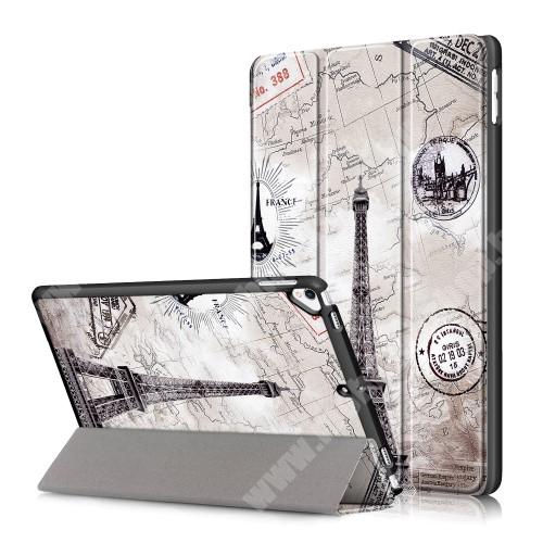 Notesz / mappa tok - oldalra nyíló flip cover, TRIFOLD asztali tartó funkció, műanyag belső - EIFFEL TORONY MINTÁS - APPLE iPad 10.2 (7th Generation) (2019)