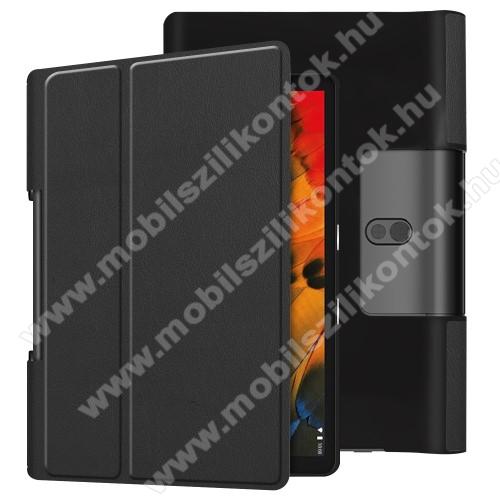 Notesz / mappa tok - oldalra nyíló flip cover, asztali tartó funkciós, rejtett mágneses - FEKETE - Lenovo Yoga Smart Tab 10.1 (YT-X705)