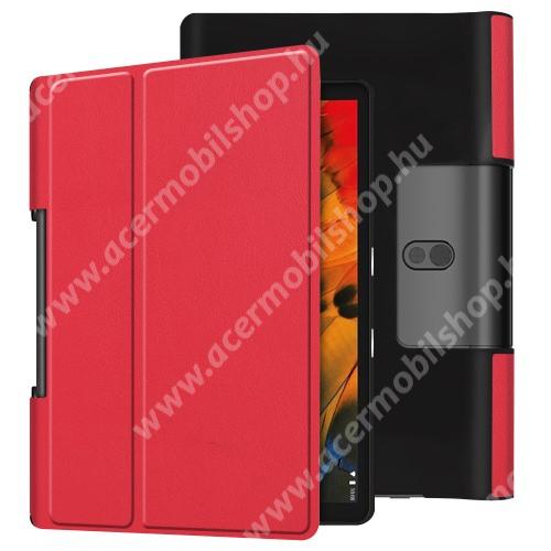Notesz / mappa tok - oldalra nyíló flip cover, asztali tartó funkciós, rejtett mágneses - PIROS - Lenovo Yoga Smart Tab 10.1 (YT-X705)