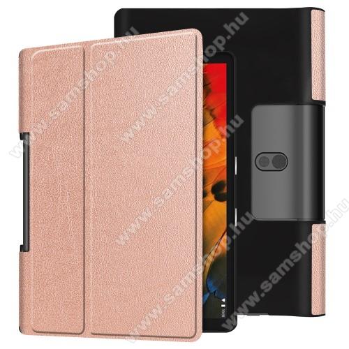 Notesz / mappa tok - oldalra nyíló flip cover, asztali tartó funkciós, rejtett mágneses - ROSE GOLD - Lenovo Yoga Smart Tab 10.1 (YT-X705)