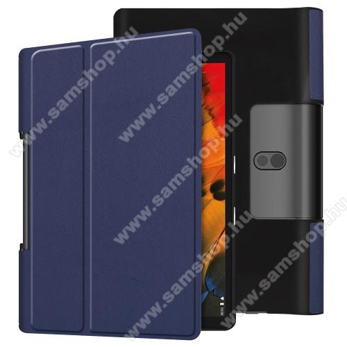 Notesz / mappa tok - oldalra nyíló flip cover, asztali tartó funkciós, rejtett mágneses - SÖTÉTKÉK - Lenovo Yoga Smart Tab 10.1 (YT-X705)