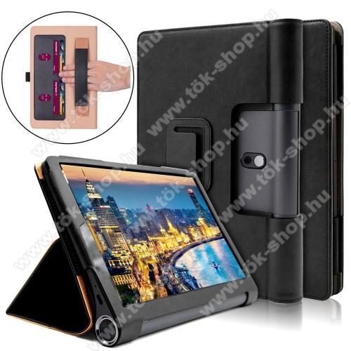 Notesz / mappa tok - oldalra nyíló flip cover, asztali tartó funkciós, rejtett mágneses, bankkártya tartó, csuklórögzítő - FEKETE - Lenovo Yoga Smart Tab 10.1 (YT-X705)