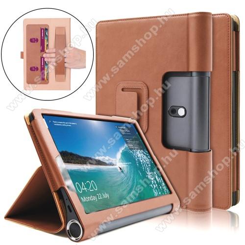 Notesz / mappa tok - oldalra nyíló flip cover, asztali tartó funkciós, rejtett mágneses - BARNA - Lenovo Yoga Smart Tab 10.1 (YT-X705)