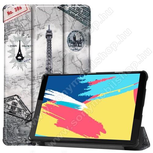 Notesz / mappa tok - oldalra nyíló flip cover, TRIFOLD asztali tartó funkció, mágneses záródás, műanyag belső - EIFFEL TORONY MINTÁS - Lenovo Tab M8 (FHD) / Lenovo Tab M8 (HD) (TB-8505)