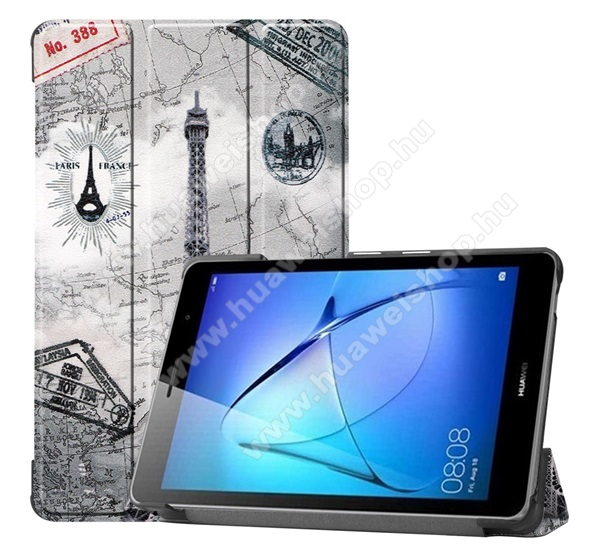 Notesz / mappa tok - oldalra nyíló flip cover, TRIFOLD asztali tartó funkció, mágneses záródás, műanyag belső - EIFFEL TORONY MINTÁS - HUAWEI MatePad T8