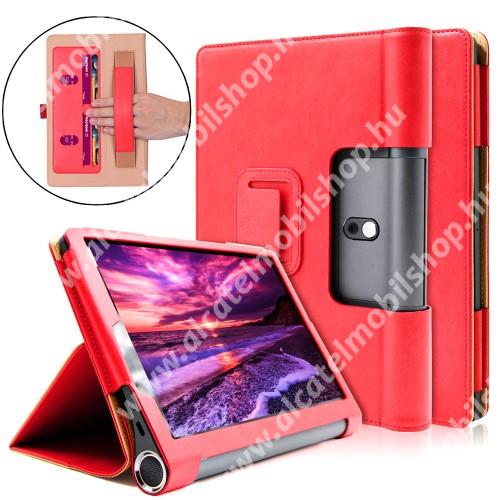 Notesz / mappa tok - oldalra nyíló flip cover, asztali tartó funkciós, rejtett mágneses, bankkártya tartó, csuklórögzítő - PIROS - Lenovo Yoga Smart Tab 10.1 (YT-X705)