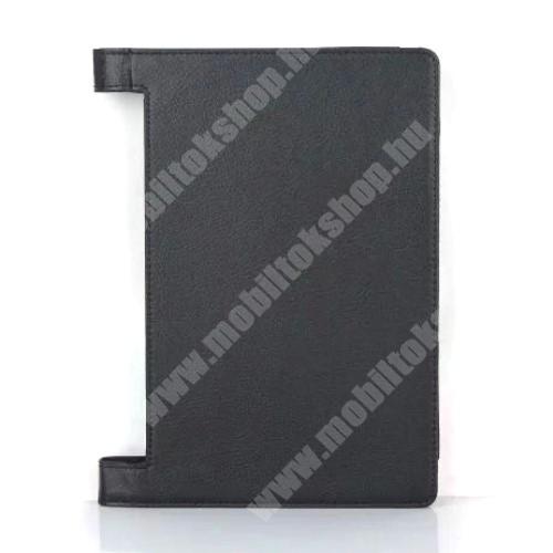 Notesz / mappa tok - oldalra nyíló flip cover, asztali tartó funkciós, rejtett mágneses, bakkártya tartó zseb - FEKETE - Lenovo Yoga Tab 3 10.1