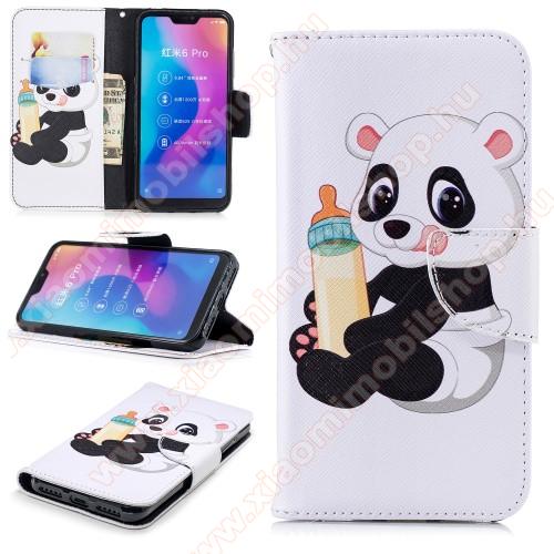 Notesz / mappa tok - PANDA MINTÁS - oldalra nyíló, rejtett mágneses záródás, belső zseb, asztali tartó funkció, szilikon belső - Xiaomi Redmi 6 Pro / Xiaomi Mi A2 Lite