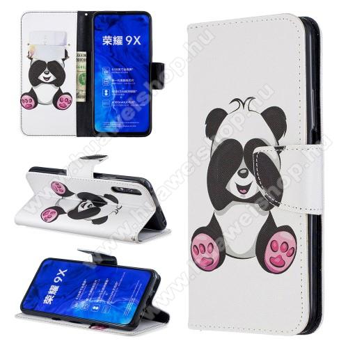 Notesz / mappa tok - PANDA MINTÁS - oldalra nyíló, rejtett mágneses záródás, belső zseb, asztali tartó funkció, szilikon belső - HUAWEI P smart Pro (2019) / HUAWEI Y9s / Honor 9X (For China market) / Honor 9X Pro (For China)