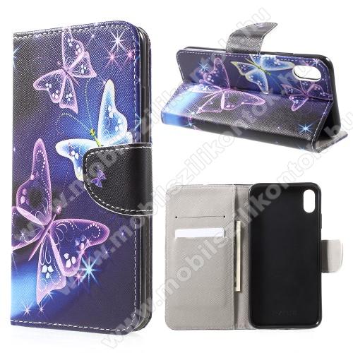 Notesz / mappa tok - PILLANGÓ MINTÁS - oldalra nyíló, rejtett mágneses záródás, belső zseb, asztali tartó funkció, szilikon belső - APPLE iPhone Xr