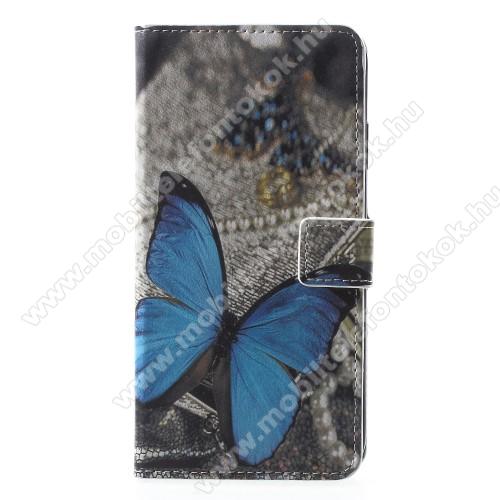 APPLE iPhone XrNotesz / mappa tok - PILLANGÓ MINTÁS - oldalra nyíló, rejtett mágneses záródás, belső zseb, asztali tartó funkció, szilikon belső - APPLE iPhone Xr