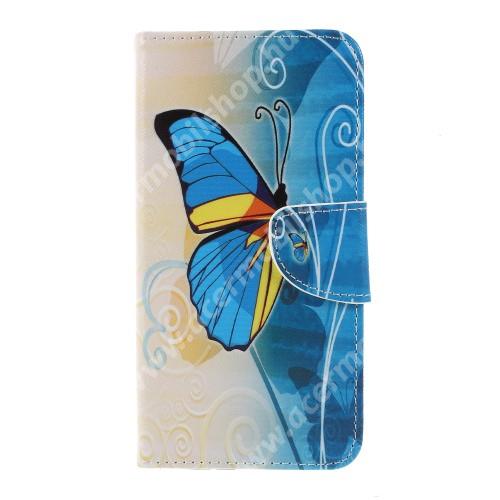 Notesz / mappa tok - PILLANGÓ MINTÁS - oldalra nyíló, rejtett mágneses záródás, belső zseb, asztali tartó funkció, szilikon belső - Sony Xperia XZ3
