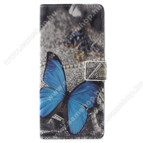 Notesz / mappa tok - PILLANGÓ MINTÁS - oldalra nyíló, rejtett mágneses záródás, belső zseb, asztali tartó funkció, szilikon belső - SAMSUNG Galaxy Note9